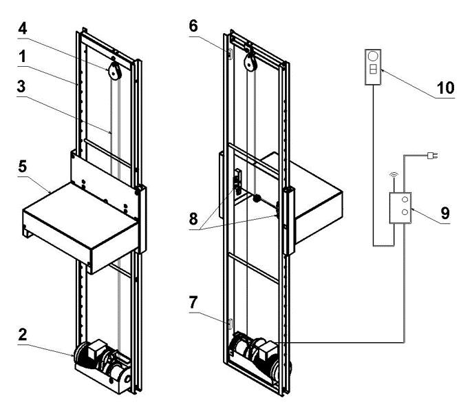 Схема электрического подъемника